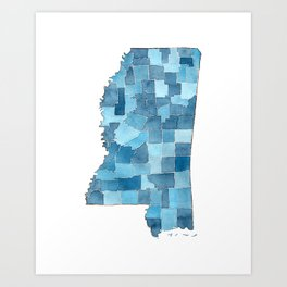 Mississippi Counties Blueprint watercolor map Art Print