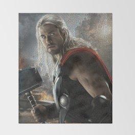 The God of Thunder Mosaic Throw Blanket