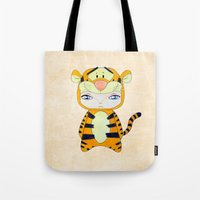 tigger Tote Bags featuring A Boy - Tigger by Christophe Chiozzi