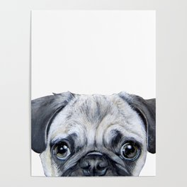 pug Dog illustration original painting print Poster