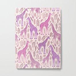 Pink Giraffe Pattern Metal Print