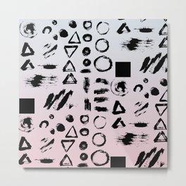 Blush pink gray black paint brushstrokes shapes gradient Metal Print