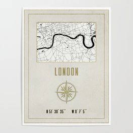 London - Vintage Map and Location Poster