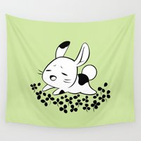 clover Wall Tapestries featuring Clover Field by Freeminds