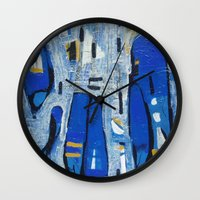 talking heads Wall Clocks featuring Talking Heads by Randall Sokoloff