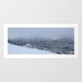 View of snowy mountain Trebevic Art Print