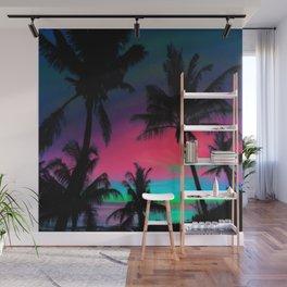 Deep Pink Palm Tree Sunset Wall Mural