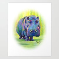 hippo Art Prints featuring Hippo by Debbie Weeks