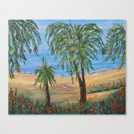 Heading to The Beach 2, Impressionism tropical beach art Canvas Print