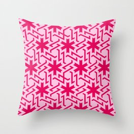 Abstract red-pink snow pattern Throw Pillow