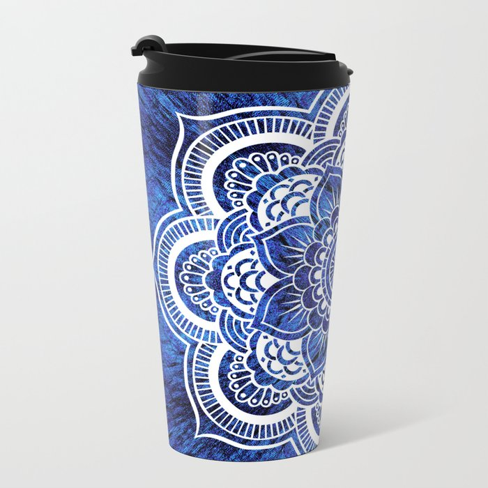 Mandala Blue Colorburst Metal Travel Mug