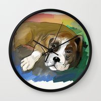 boxer Wall Clocks featuring Boxer by Michelle Behar
