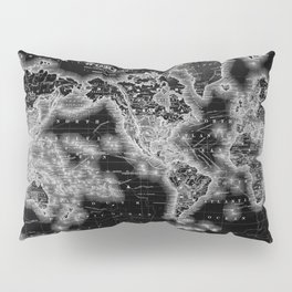 Black and White World Map (1864) Inverse Pillow Sham
