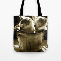 kittens Tote Bags featuring Kittens by Northern Light Images