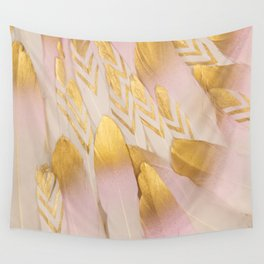Gold Pink Arrow Feathers Wall Tapestry