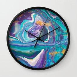 Fluid Nature - Purple Teal Maze - Acrylic Pour Art Wall Clock
