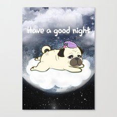 Sleepy Little Pug Canvas Print