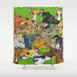 Greyhounds on green Shower Curtain
