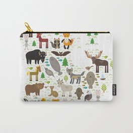 Map of North America with Animals bison bat manatee fox elk horse wolf partridge seal Polar bear Carry-All Pouch