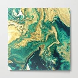 M A R B L E - emerald & brass Metal Print