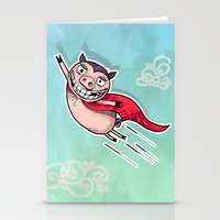 superhero Stationery Cards featuring Superhero by Aleksandra Jevtovic
