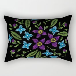 Embroidered Flowers on Black Circle 08 Rectangular Pillow