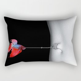 'The Brazilian Girl with the Belly Button Ring,' magical realism surreal portrait by Sérgio Valle Duarte Rectangular Pillow