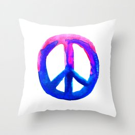 Watercolor Tie Dye Peace Sign Pink Blue on White Throw Pillow