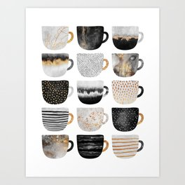Pretty Coffe Cups 3 - White Art Print