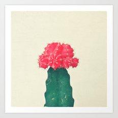 Red Plaid Cactus Art Print