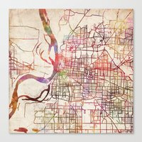 memphis Canvas Prints featuring Memphis by MapMapMaps.Watercolors