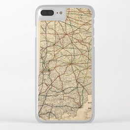 Vintage Map of The Indiana Railroad System (1896) Clear iPhone Case