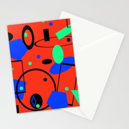 Retro abstract geometric design red print Stationery Cards