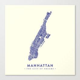 Manhattan Map NYC Canvas Print