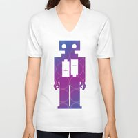 robots V-neck T-shirts featuring Robots by Scar Design
