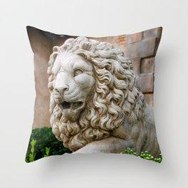 Lion Of Stone Throw Pillow