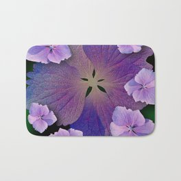 LACECAP HYDRANGEA FLOWER BOUQUET  Bath Mat