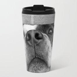 dog looking through fence Travel Mug