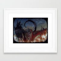smaug Framed Art Prints featuring Smaug by Cécile Pellerin