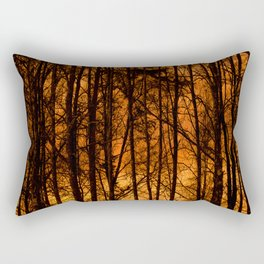 Tree Silhouettes Against The Sunrise Sky - Winter Scene #decor #society6 #homedecor Rectangular Pillow