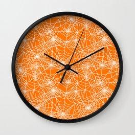 Pumpkin Cobwebs Wall Clock