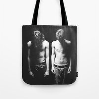boys Tote Bags featuring Boys by Twigs and Shadow