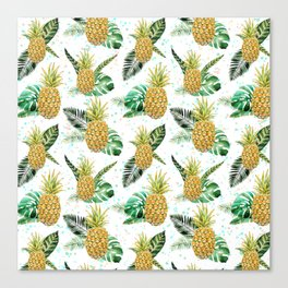 Summer tropical green yellow pineapple leaves watercolor floral Canvas Print