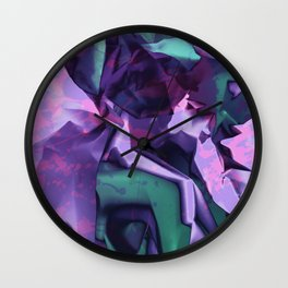 Restless Unicorn. Dynamic Purple and Teal Abstract. Wall Clock