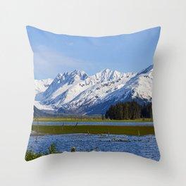 Alaska Mt Range - Spring Throw Pillow