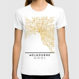 MELBOURNE AUSTRALIA CITY STREET MAP ART T-shirt
