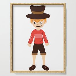 A Perfect Gift For Your Sibling Or Friend An Illustration Of  A Boy With A Hat T-shirt Design Bro Serving Tray