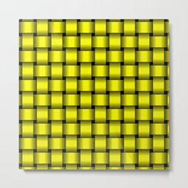 Yellow Weave Metal Print