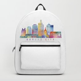Kansas city skyline  landmarks  in watercolor Backpack