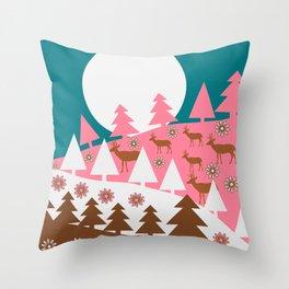 Floral deer hills Throw Pillow